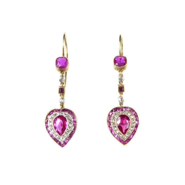 Pair of ruby and diamond heart cluster earrings