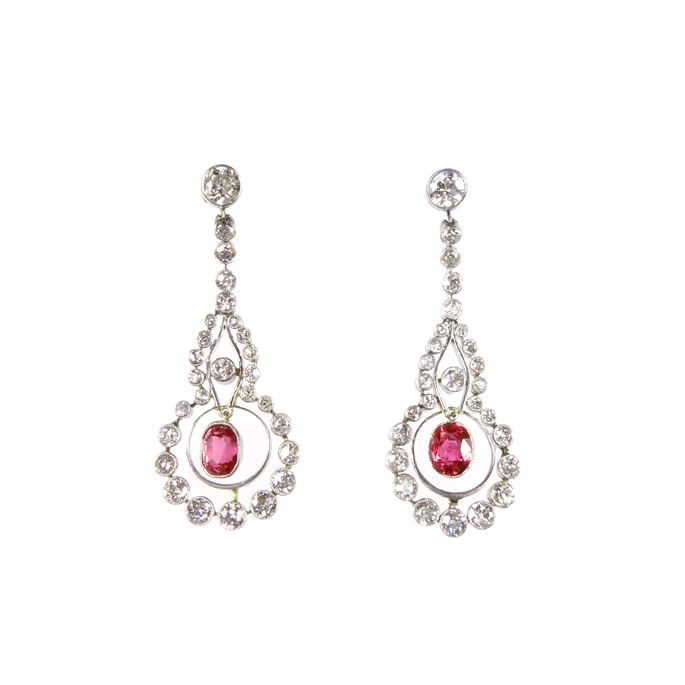 Pair of early 20th century ruby and diamond pendant earrings | MasterArt