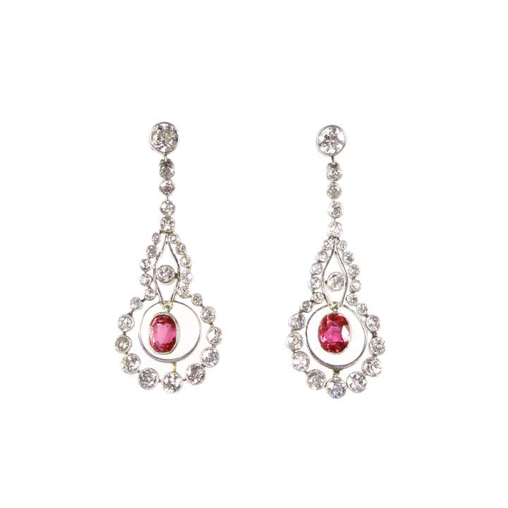 Pair of early 20th century ruby and diamond pendant earrings