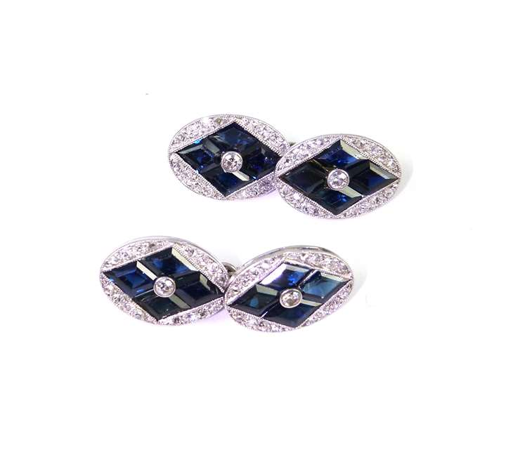 Pair of early 20th century sapphire and diamond cufflinks