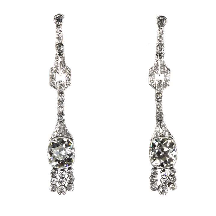 Pair of early Art Deco cushion cut diamond pendant earrings