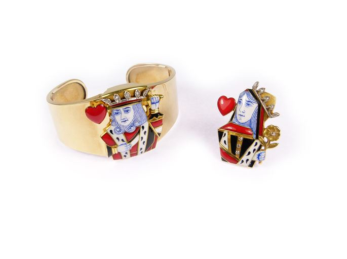 Cartier - Pair of enamel, diamond and gold playing-card motif clip brooches by Cartier | MasterArt