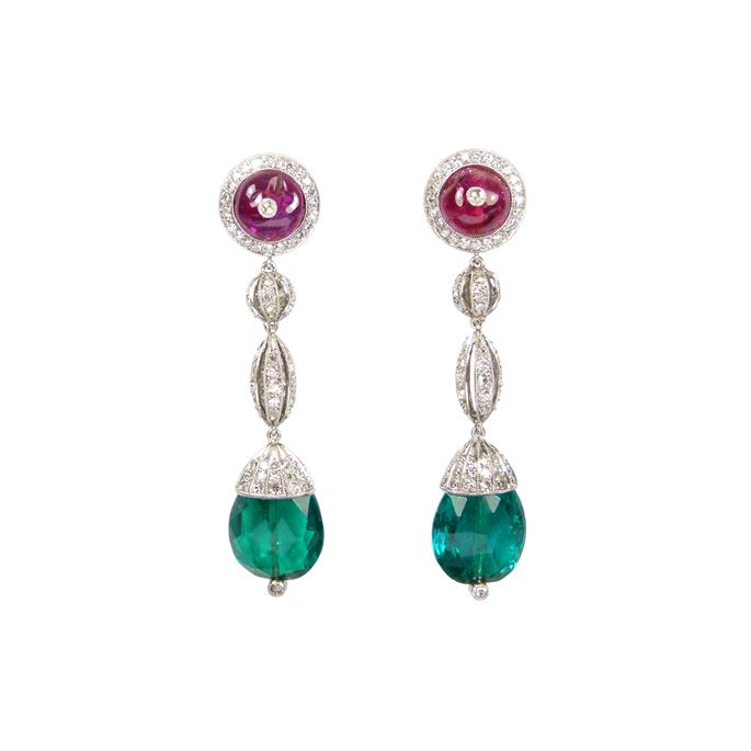 Pair of facetted emerald drop, ruby and diamond pendant earrings, each hung with a pear shaped briolette Colombian emerald, 5.05ct and 4.65ct, | MasterArt