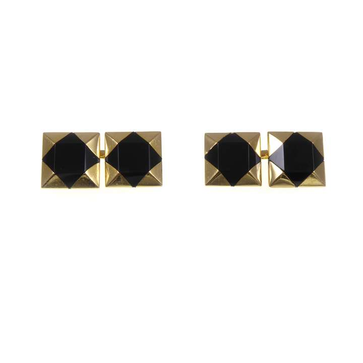Pair of gold and onyx square cufflinks