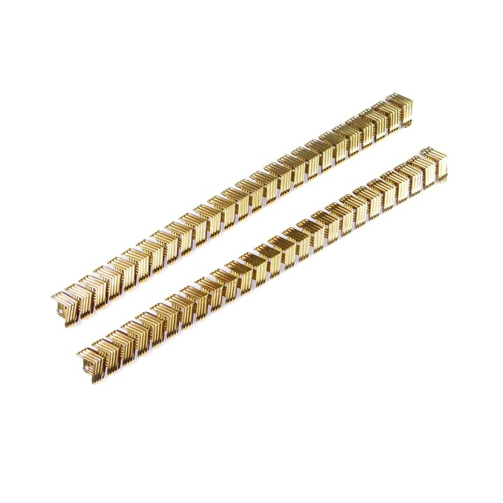 Pair of gold reeded chevron link bracelets, joining to form a collar necklace
