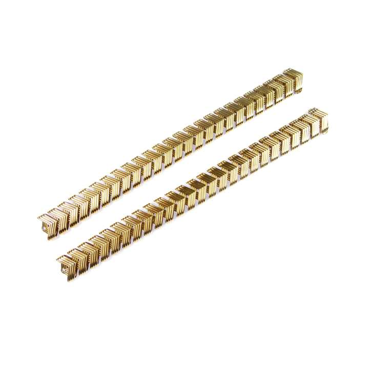 Pair of gold reeded chevron link bracelets by Van Cleef & Arpels, joining to form a collar necklace