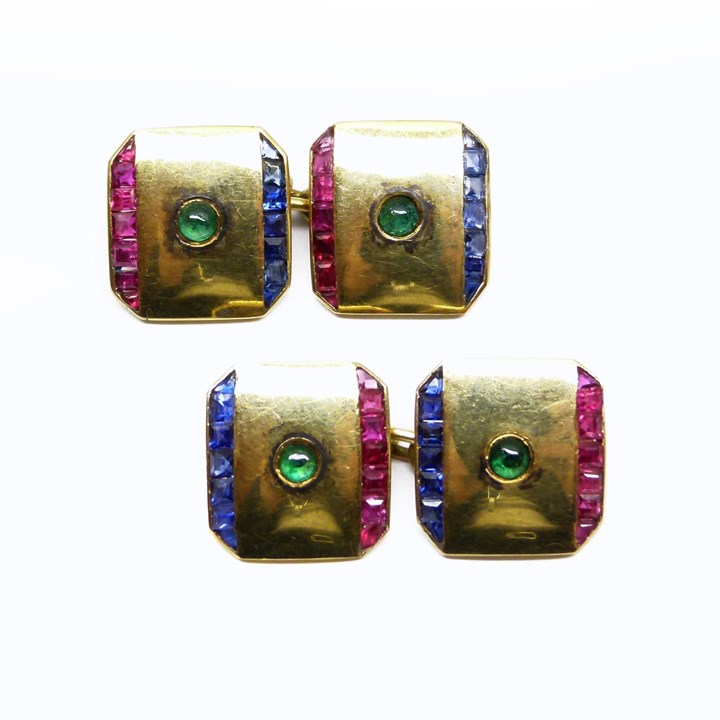 Pair of gold, ruby, sapphire and emerald cufflinks