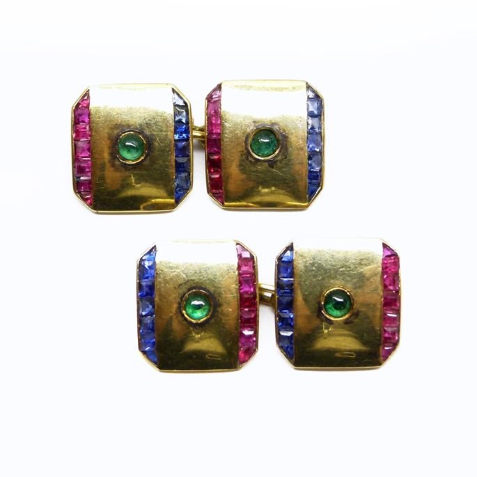 Pair of gold, ruby, sapphire and emerald cufflinks | MasterArt