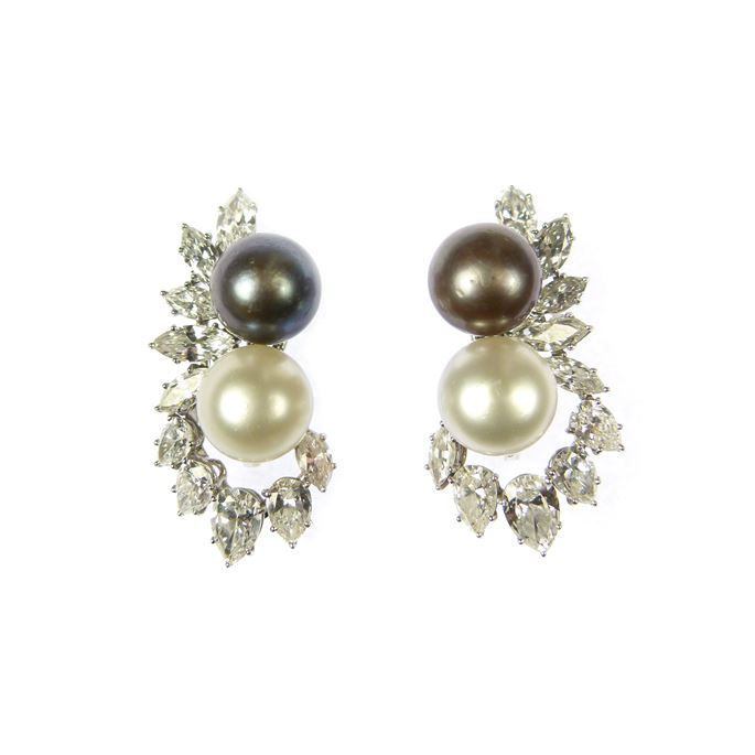 Pair of grey and white pearl and diamond cluster earrings | MasterArt