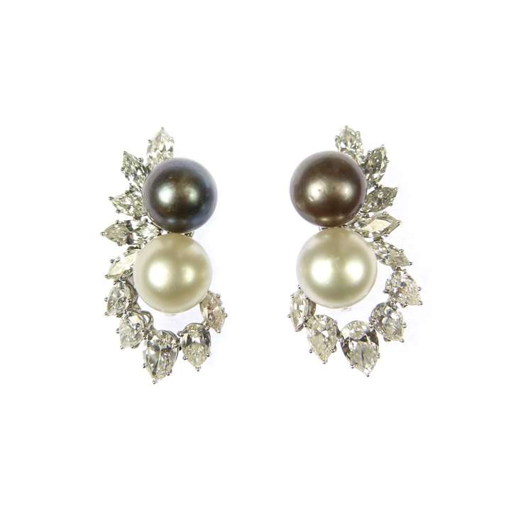 Pair of grey and white pearl and diamond cluster earrings