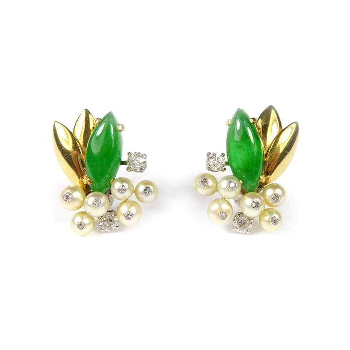 Pair of jade, diamond and pearl earrings, of foliate cluster design,