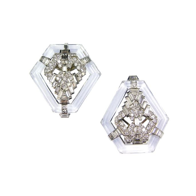 Pair of kite shaped rock crystal and diamond clip brooches | MasterArt