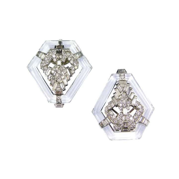 Pair of kite shaped rock crystal and diamond clip brooches