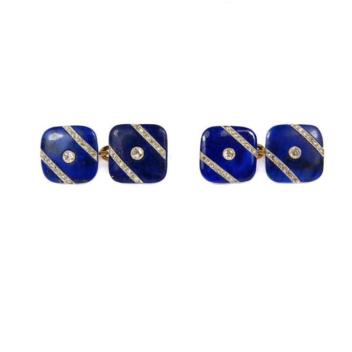 Pair of lapis lazuli and diamond cufflinks