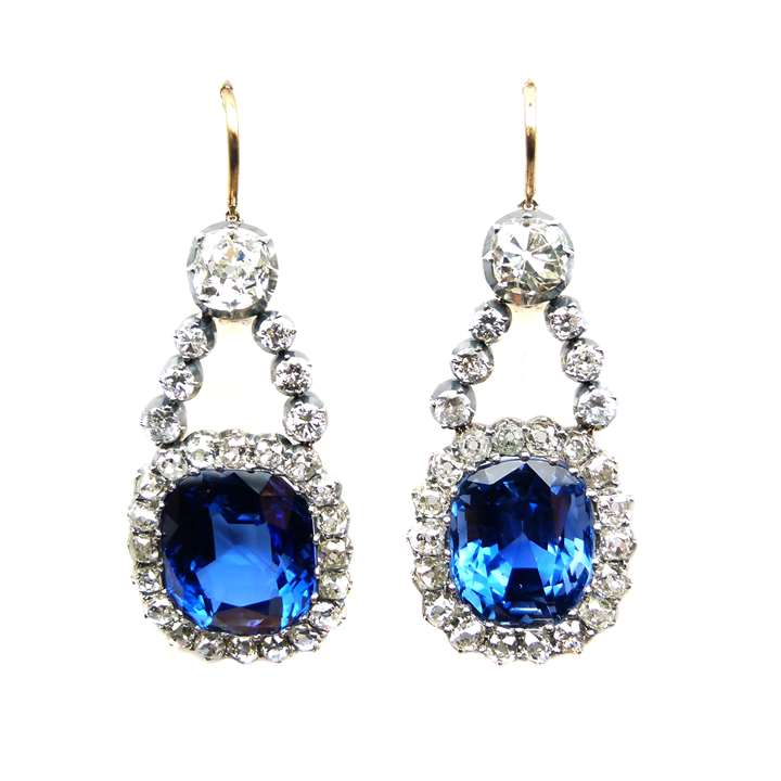 Pair of late 19th century Burma sapphire and diamond cluster pendant earrings.