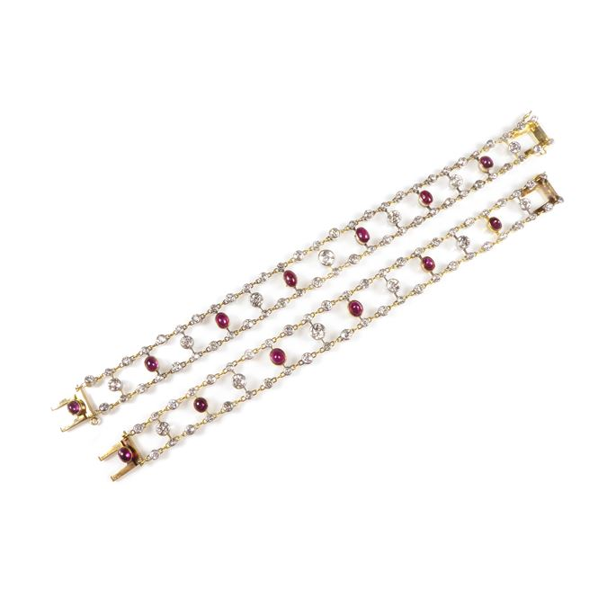 Pair of late 19th century cabochon ruby and diamond two row bracelets | MasterArt