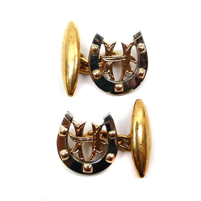 Pair of late 19th century gold horseshoe cufflinks | MasterArt