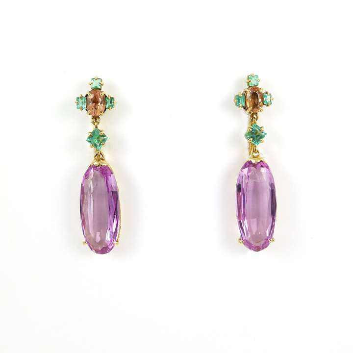 Pair of late 19th century pink topaz and gem set pendant earrings