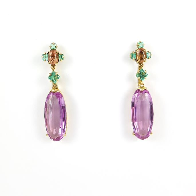 Pair of late 19th century pink topaz and gem set pendant earrings | MasterArt