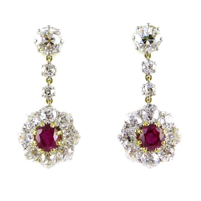 Pair of late 19th century ruby and diamond cluster pendant earrings | MasterArt