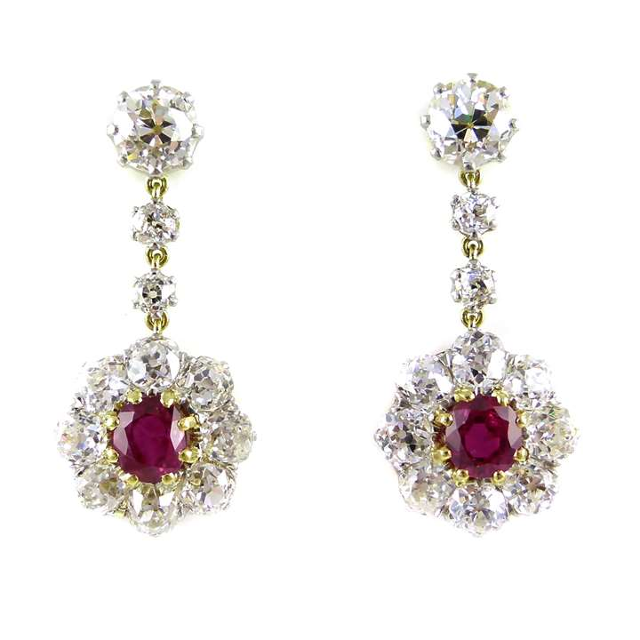 Pair of ruby and diamond cluster pendant earrings
