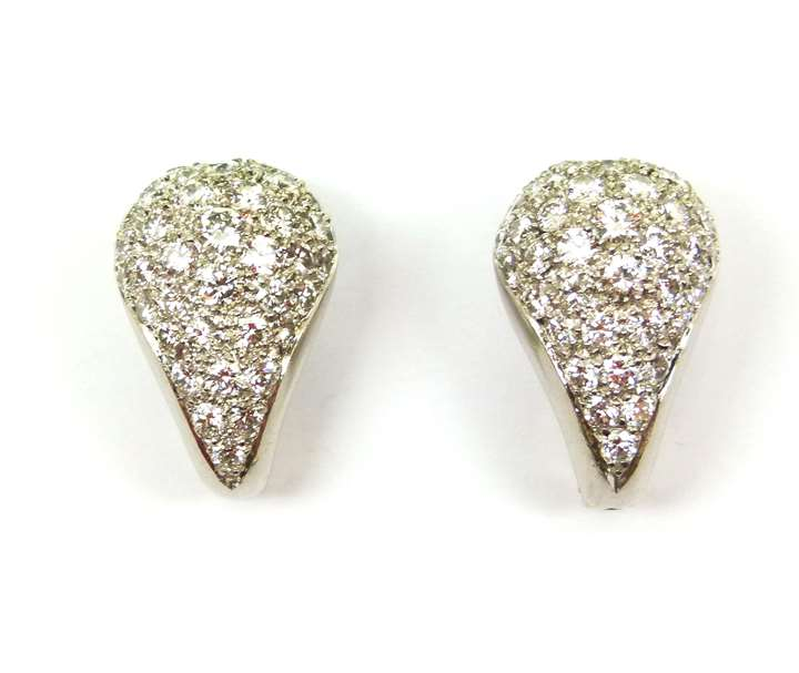 Pair of late Art Deco bombe diamond cluster tear-drop earrings