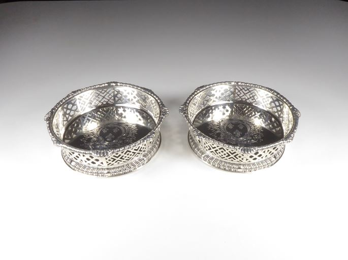 Pair of late George II silver pierced coasters | MasterArt