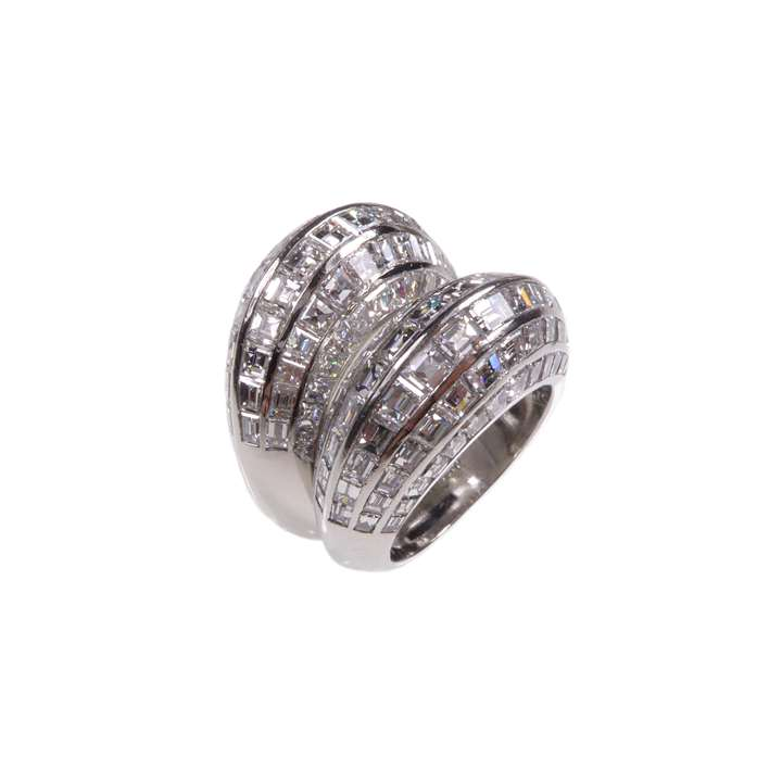 Pair of  diamond and platinum bombe rings by Van Cleef and Arpels