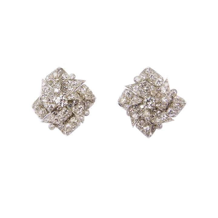 Pair of mid-20th century diamond bow cluster earrings