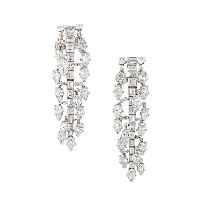 Cartier - Pair of mid-20th century diamond pendant earrings by Cartier | MasterArt