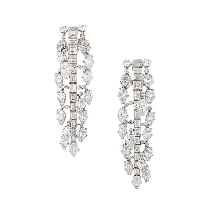 Pair of mid-20th century diamond pendant earrings by Cartier