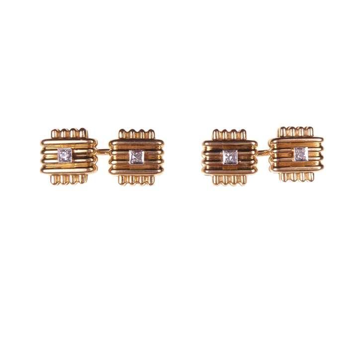 Pair of mid-20th century gold and diamond cufflinks