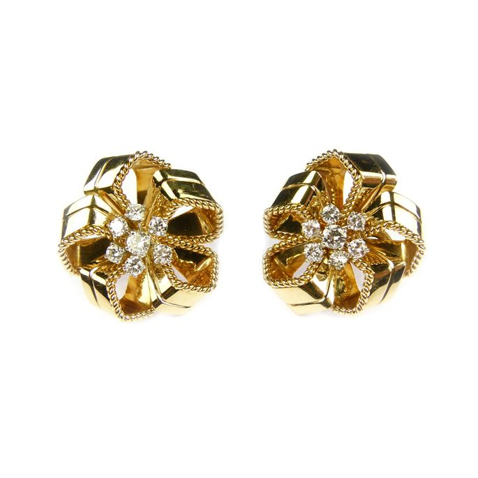 Cartier - Pair of mid-20th century gold and diamond stylised rosette earrings | MasterArt