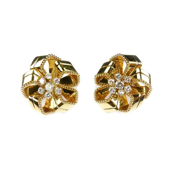 Pair of mid-20th century gold and diamond stylised rosette earrings