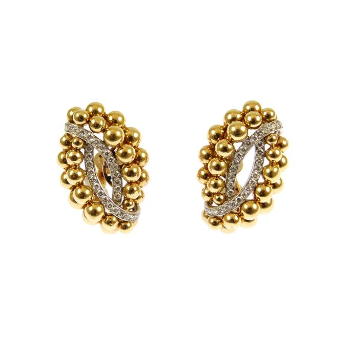 Cartier - Pair of mid-20th century gold bead and diamond cluster earrings | MasterArt