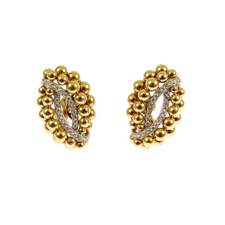 Pair of mid-20th century gold bead and diamond cluster earrings