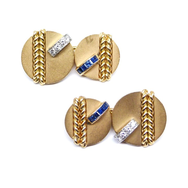 Pair of mid-20th century gold, sapphire and diamond cufflinks