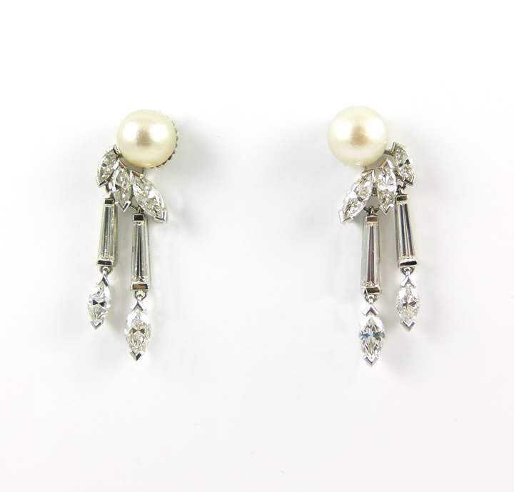 Pair of pearl and marquise diamond tassel earrings,