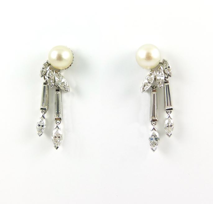 Pair of mid-20th century pearl and marquise diamond earrings | MasterArt