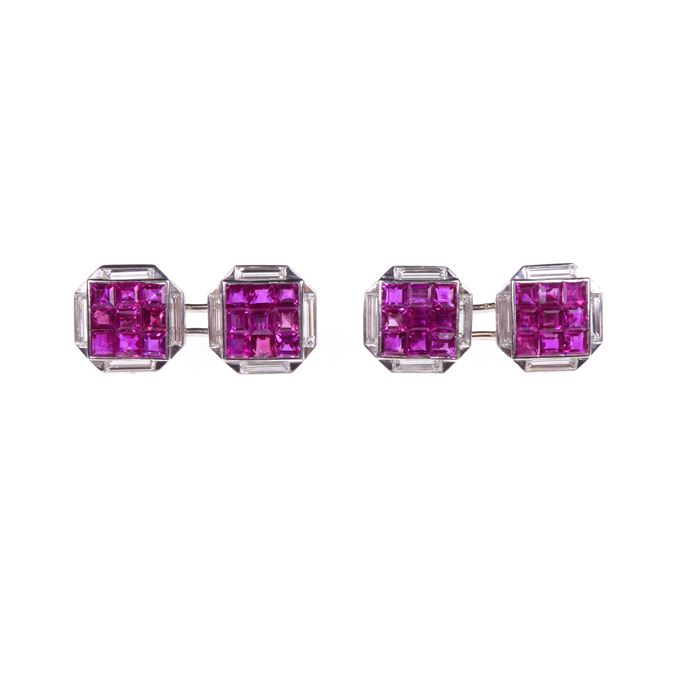 Pair of mid-20th century ruby and diamond cufflinks | MasterArt