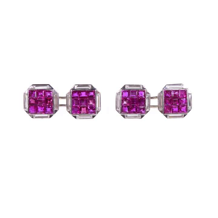 Pair of mid-20th century ruby and diamond cufflinks