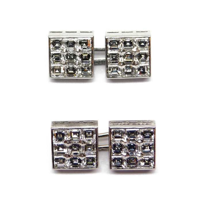 Pair of mid-20th century square panel diamond cluster cufflinks