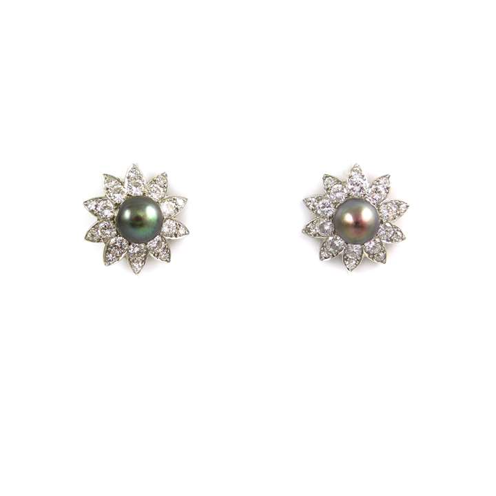 Pair of natural black pearl and diamond flowerhead cluster earrings