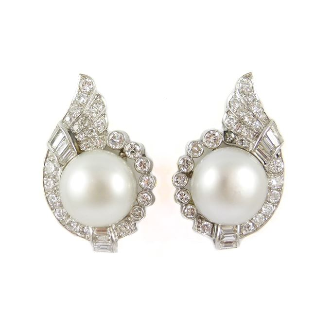 Pair of natural bouton pearl and diamond cluster earrings | MasterArt