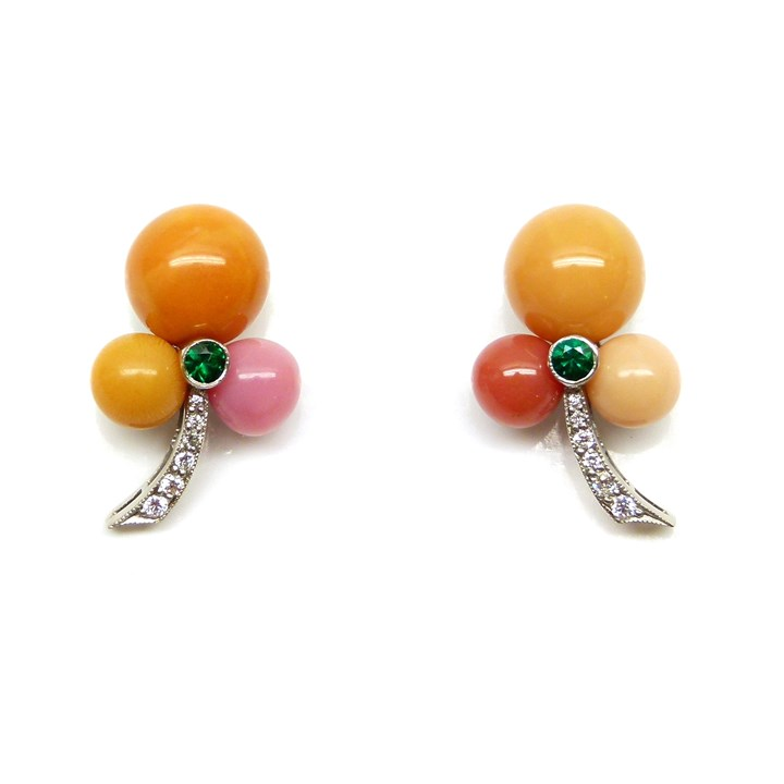 Pair of orange and pink pearl trefoil cluster earrings