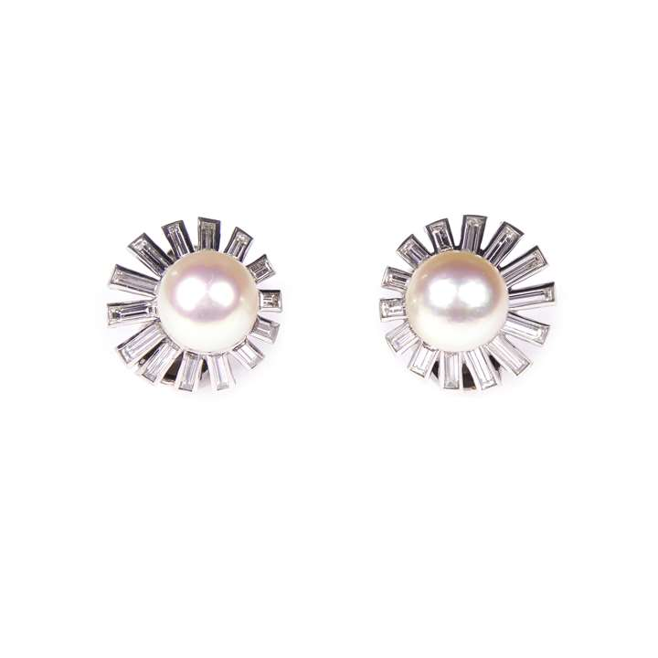 Pair of pearl and baguette diamond cluster earrings