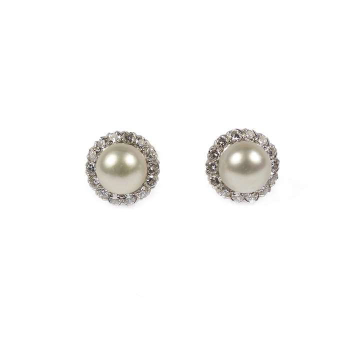 Pair of pearl and diamond cluster stud earrings