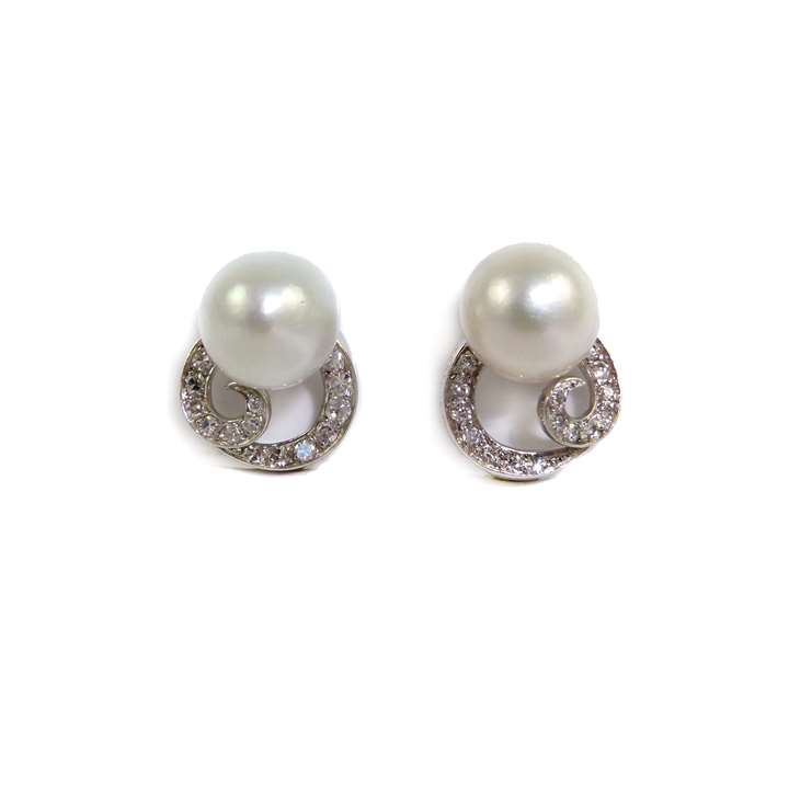 Pair of pearl and diamond scroll earrings, Monture Boucheron