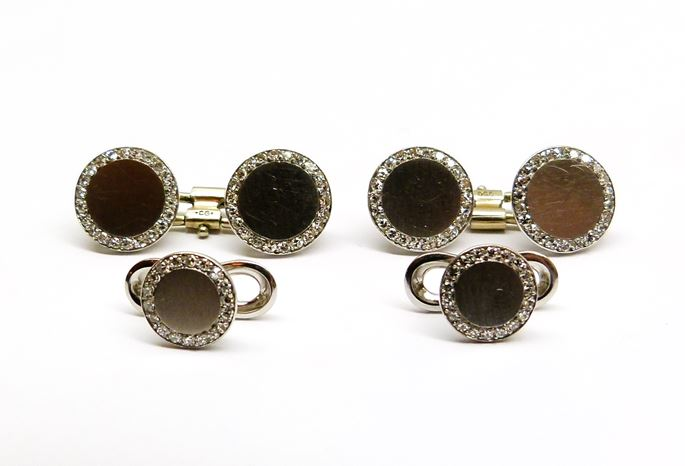 Pair of platinum and diamond cufflinks and two shirt studs | MasterArt