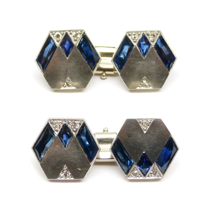 Pair of platinum, diamond and sapphire hexagonal cufflinks